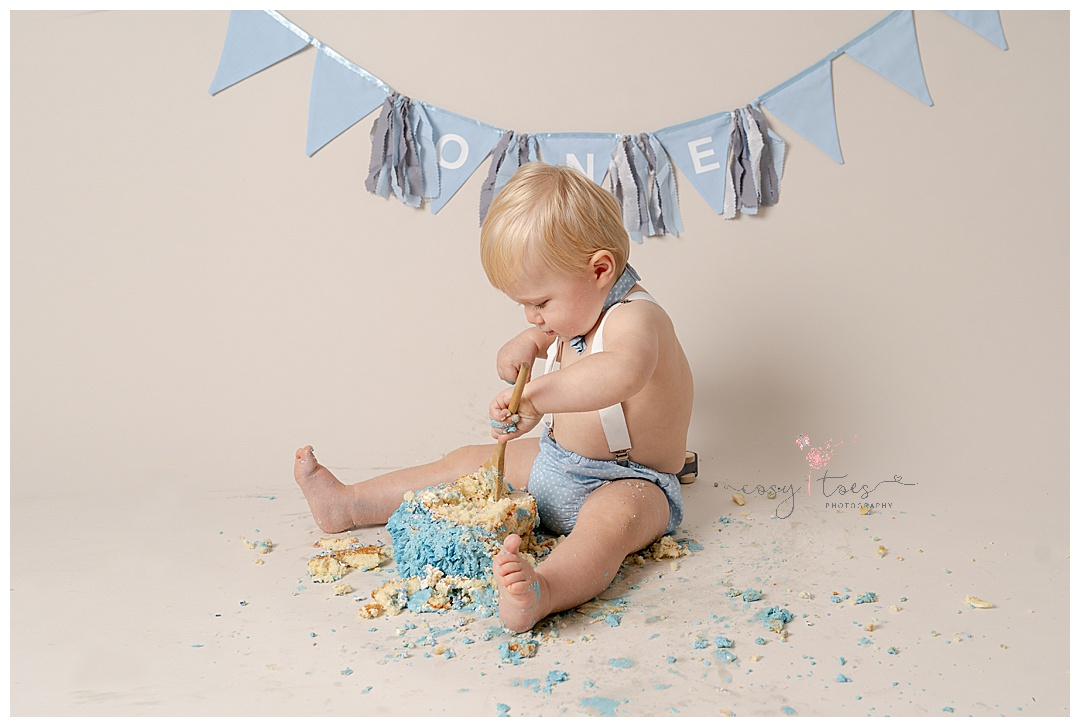 baby boys smashed cake at his Horsham Cake Smash